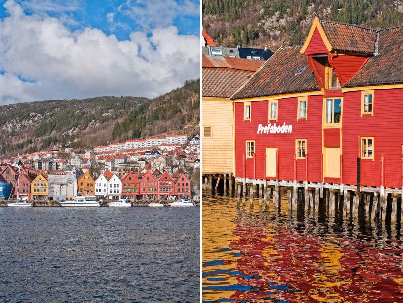 dzielnica Bryggen nad zatoką Vågen w Bergen