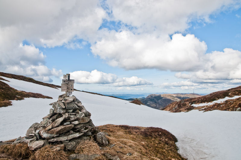 znaki na górze Ulriken w Bergen w Norwegii